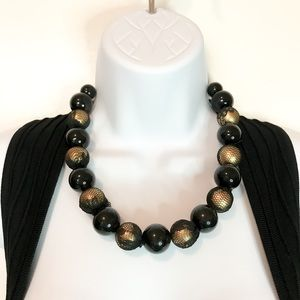 Jewelry - Black lace covered beaded fashion necklace